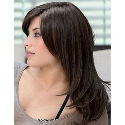 Chic Long Brown Straight Hair Fluffy Inclined Bang Women's Tilt Synthetic Wig