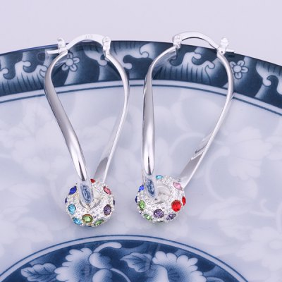 Pair of Rhinesone Colored Earrings For Women