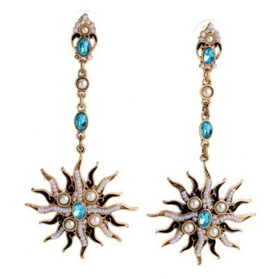 Pair of Stylish Floral Shape Faux Pearl Decorated Earrings For Women