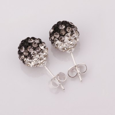 Pair of Rhinesone Ball Shape Earrings