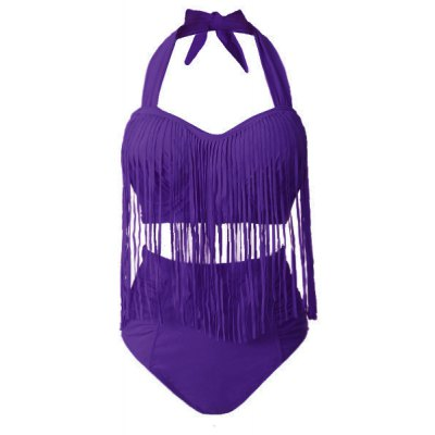 Sexy Solid Color High-Waisted Fringe Design Plus Size Womens Bikini SetSwimwear<br>Sexy Solid Color High-Waisted Fringe Design Plus Size Womens Bikini Set<br><br>Gender: For Women<br>Material: Lycra<br>Bra Style: Padded<br>Support Type: Underwire<br>Pattern Type: Solid<br>Swimwear Type: Bikini<br>Waist: High Waisted<br>Weight: 0.340KG<br>Package Contents: 1 x Bra  1 x Briefs