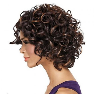 Fashion Heat Resistant Soft Curly Mix Color Capless Synthetic Wig For Women