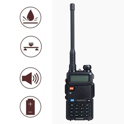 Baofeng UV5R 1.5 inch LCD 5W Dual Band ( 136  -  174MHz / 400  -  480MHz ) Walkie Talkie with Flashlight (EU Plug)