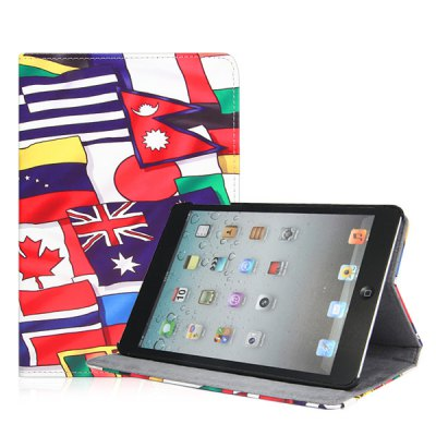 Stand Design Many Flags Pattern Cover Case of PU and PC Material for iPad mini