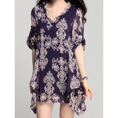 V-Neck Long Sleeve Loose-Fitting Printed Chiffon Dress For Women