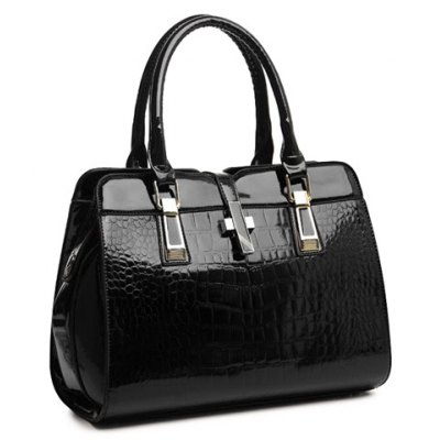 Stunning Patent Leather and Crocodile Print Design Women's Tote Bag
