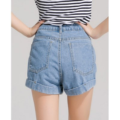 Stylish Button Fly High-Waisted Bleach Wash Denim Light Blue Shorts Women от GearBest.com INT