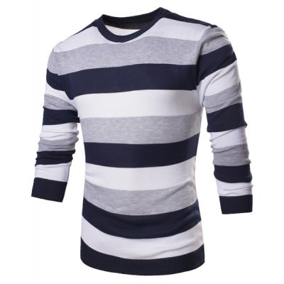 Fashion Round Neck Slimming Color Block Broad Stripes Long Sleeve Polyester Sweater For Men