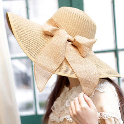 Bowknot Lace-Up Embellished Wide Brim Straw Hat For Women