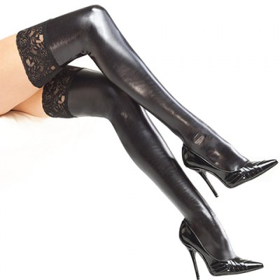 Faux Leather Stockings For Women