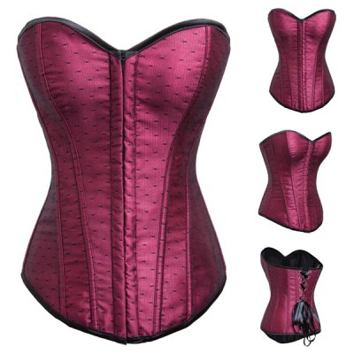 Sexy Strapless Sleeveless Lace-Up Zippered Womens CorsetCorsets &amp; Shapewear<br>Sexy Strapless Sleeveless Lace-Up Zippered Womens Corset<br><br>Material: Polyester<br>Pattern Type: Patchwork<br>Embellishment: Spliced<br>Weight: 0.55KG<br>Package Contents: 1 x Corset