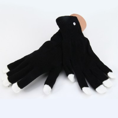 Фотография Knitted Pattern Luminous Fingertip Glove for Party Decoration Cosplay 1 Pair