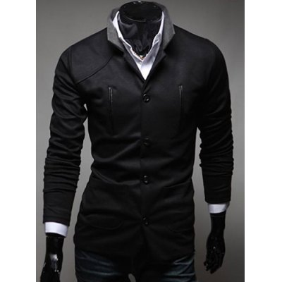 Stylish Stand Collar Slimming Color Splicing Pocket Design Long Sleeve Polyester Blazer For Men