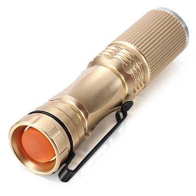 CREE XPE Q5 600 Lumens 7W Zoomable LED Flashlight 1 x AA / 14500LED Flashlights<br>CREE XPE Q5 600 Lumens 7W Zoomable LED Flashlight 1 x AA / 14500<br><br>Lamp Beads: Cree XP-E Q5<br>Emitters Quantity: 1 x Cree XP-E Q5<br>Lumens Range: 500-1000Lumens<br>Luminous Flux: 600Lm<br>Feature: Pocket Clip<br>Function: Camping,EDC,Hiking,Walking<br>Switch Type: Clicky<br>Switch Location: Tail Cap<br>Mode: 1 (ON/OFF)<br>Battery Type: 14500,AA<br>Battery Quantity: 1 x 14500 / AA battery (not included)<br>Zooming: Yes<br>Power Source: Battery<br>Reflector: No<br>Lens: Glass Lens<br>Beam Distance: 50-100m<br>Body Material: Aluminium Alloy<br>Available Light Color: White<br>Available color: Black,Gold,Silver<br>Product weight: 0.030 kg<br>Package weight: 0.070 kg<br>Product size (L x W x H): 9.00 x 2.00 x 2.00 cm / 3.54 x 0.79 x 0.79 inches<br>Package size (L x W x H): 10.00 x 3.00 x 3.00 cm / 3.94 x 1.18 x 1.18 inches<br>Package Contents: 1 x Zooming Flashlight