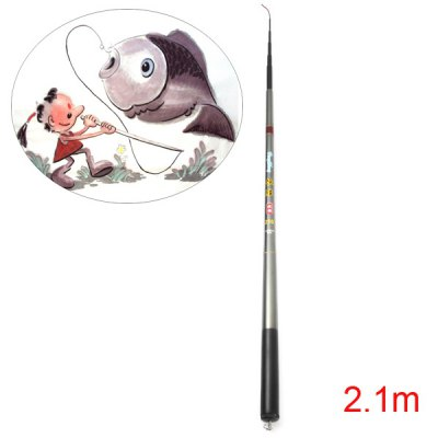 HengSheng Portable 2.1m Telescopic Fishing Rod Pole Stick Carbonrod for Fisher Angler
