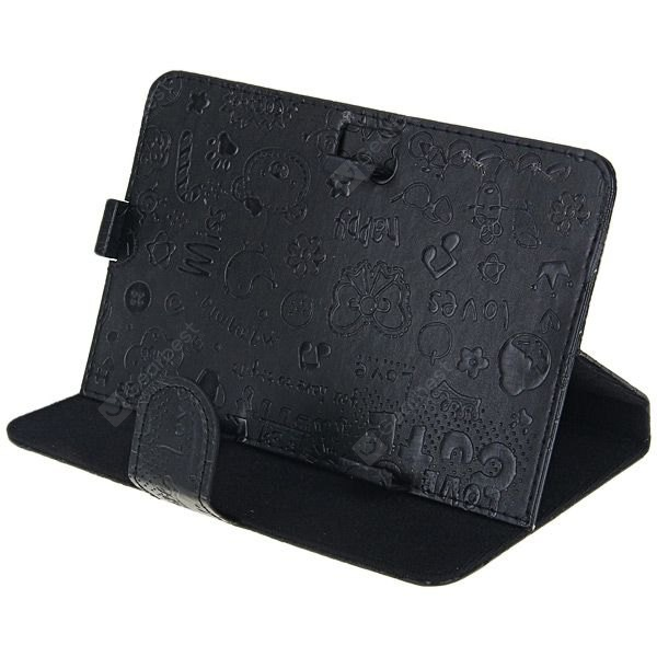 Folder PU Stand Leather Case with Cartoon Pattern for 7 inch Tablet PC - Black