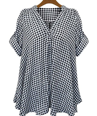 Casual Stand-Up Collar Short Sleeve Plaid Loose-Fitting Women´s Blouse