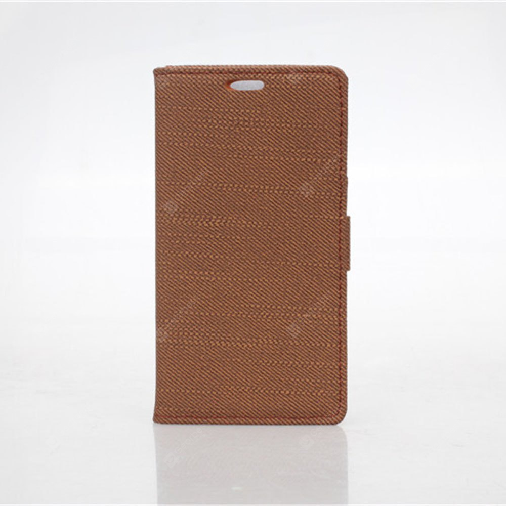 Cloth Texture Pattern PU PC Material Card Holder Cover Case Stand Huawei Ascend Y550 BROWN