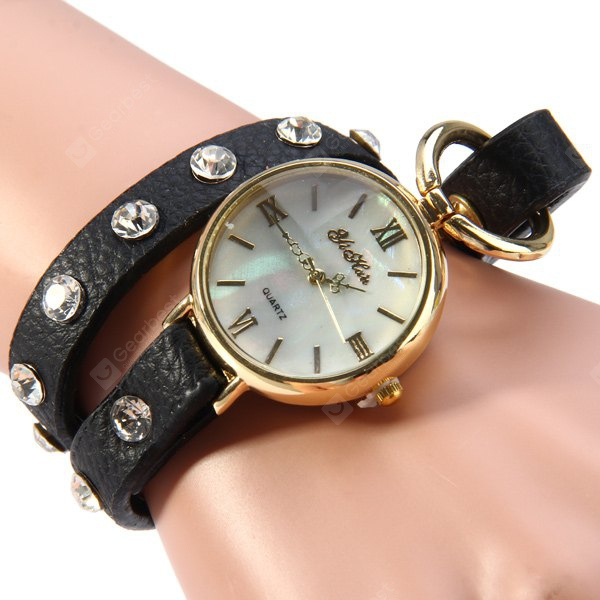 Yihan Long Leather Band Big Diamond Lady Quartz Watch Bracelet BLACK