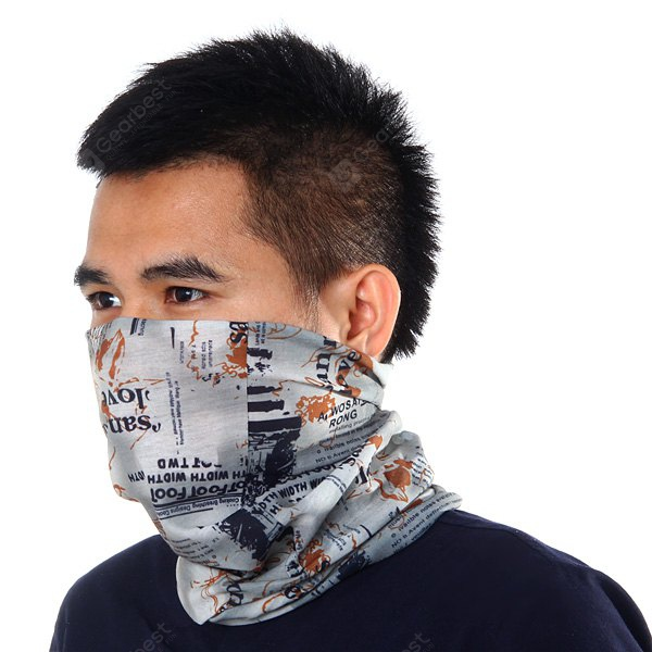Letters Pattern Kerchief Sun Protective Hood Scarf Outdoor Climbing Cycling Supplies GRAY