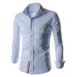 cheap Stylish Shirt Collar Slimming Buttons Design Stripes Splicing Long Sleeve Polyester Shirt For Men