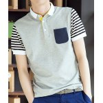 Buy Light gray Slimming Turn-down Collar Pocket Embellished Stripes Print Short Sleeves Men's Polo T-Shirt-17.52 Online Shopping GearBest.com
