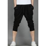 Buy Casual Lace-Up Button Pocket Embellished Slimming Narrow Feet Men's Harem Capri Pants M