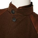 Stylish Stand Collar PU Leather Splicing Slimming Color Block Long Sleeves Men's Coat deal