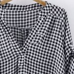 cheap Casual Stand-Up Collar Short Sleeve Plaid Loose-Fitting Women's Blouse
