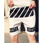 Buy Slimming Fashion Oblique Stripe Letter Print Straight Leg Polyester Shorts Men XL