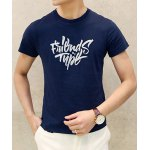 Buy Deep blue Simple Round Neck Letters Print Slimming Solid Color Short Sleeves Men's T-Shirt-14.02 Online Shopping GearBest.com