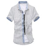 Buy Checked Refreshing Color Block Button Fly Turn-down Collar Plaid Print Slimming Short Sleeves Men's Shirt-12.10 Online Shopping GearBest.com