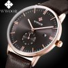 WWOOR 8808 Simple Dial Leather Band Quartz Watch for Men deal