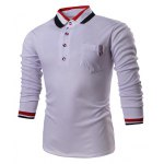 Buy Fashion Turn-Down Collar Slimming Color Block Stripe Splicing Long Sleeve Polyester Polo T-Shirt Men 2XL WHITE