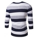 cheap Fashion Round Neck Slimming Color Block Broad Stripes Long Sleeve Polyester Sweater For Men