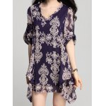 Elegant V-Neck Long Sleeve Loose-Fitting Printed Chiffon Dress For Women