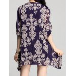 Elegant V-Neck Long Sleeve Loose-Fitting Printed Chiffon Dress For Women deal