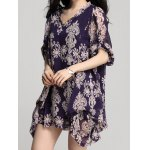 cheap Elegant V-Neck Long Sleeve Loose-Fitting Printed Chiffon Dress For Women
