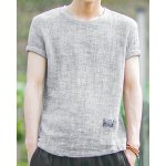 Buy Light gray Slimming Round Neck Label Embellished Solid Color Short Sleeves Men's Linen+Cotton T-Shirt-21.81 Online Shopping GearBest.com
