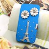 Luxury Bling Rhinestone PU Leather Protective Cover Case for Samsung Galaxy S6 G9200 Flowers Tower Decor