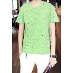 Buy Modern Style Round Neck Paint Dot Embellished Slimming Short Sleeves Men's T-Shirt M