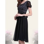 Retro Style Scoop Neck Polka Dot Print Color Block Short Sleeve Women's Dress for sale