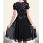 cheap Retro Style Scoop Neck Polka Dot Print Color Block Short Sleeve Women's Dress