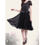 Retro Style Scoop Neck Polka Dot Print Color Block Short Sleeve Women's Dress deal