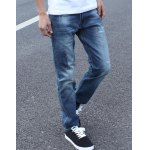 Buy Blue Personality Patch Hole Embellished Zipper Fly Slimming Narrow Feet Men's Jeans-43.52 Online Shopping GearBest.com