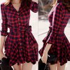 Checked Lace-Up Long Sleeve Dress photo