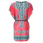 Ethnic Style Scoop Neck Print Color Block Short Sleeve T-Shirt For Women photo