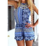 cheap Sexy Round Collar Sleeveless Printed Hollow Out Women's Romper