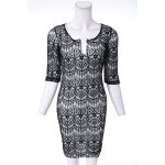 Fashionable Plunging Neckline 3/4 Sleeve Lace Dress For Women deal