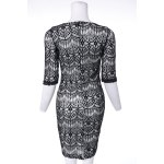 Fashionable Plunging Neckline 3/4 Sleeve Lace Dress For Women for sale